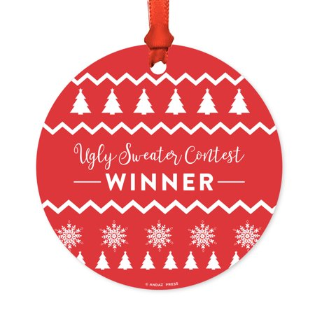 Funny Round Metal Christmas Ornament, Ugly Sweater Contest Winner, Includes Ribbon and Gift Bag