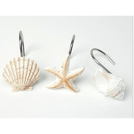 Topboutique 12 Pcs Seashell Shower Curtain Hooks Bathroom Beach Shell Decoration