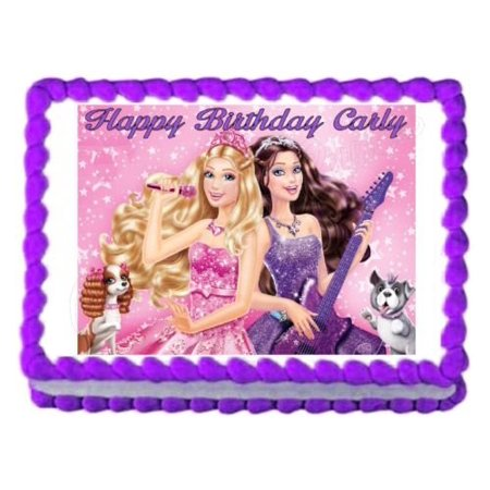Barbie Princess And The Popstar Edible Frosting Cake Image Topper