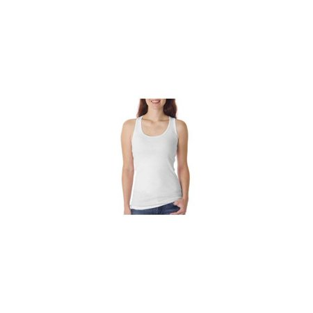 Ladies 2x1 Rib Tank Top (Bella+Canvas Ladies 2x1 Rib Racerback Longer Length Cotton Tank, White)