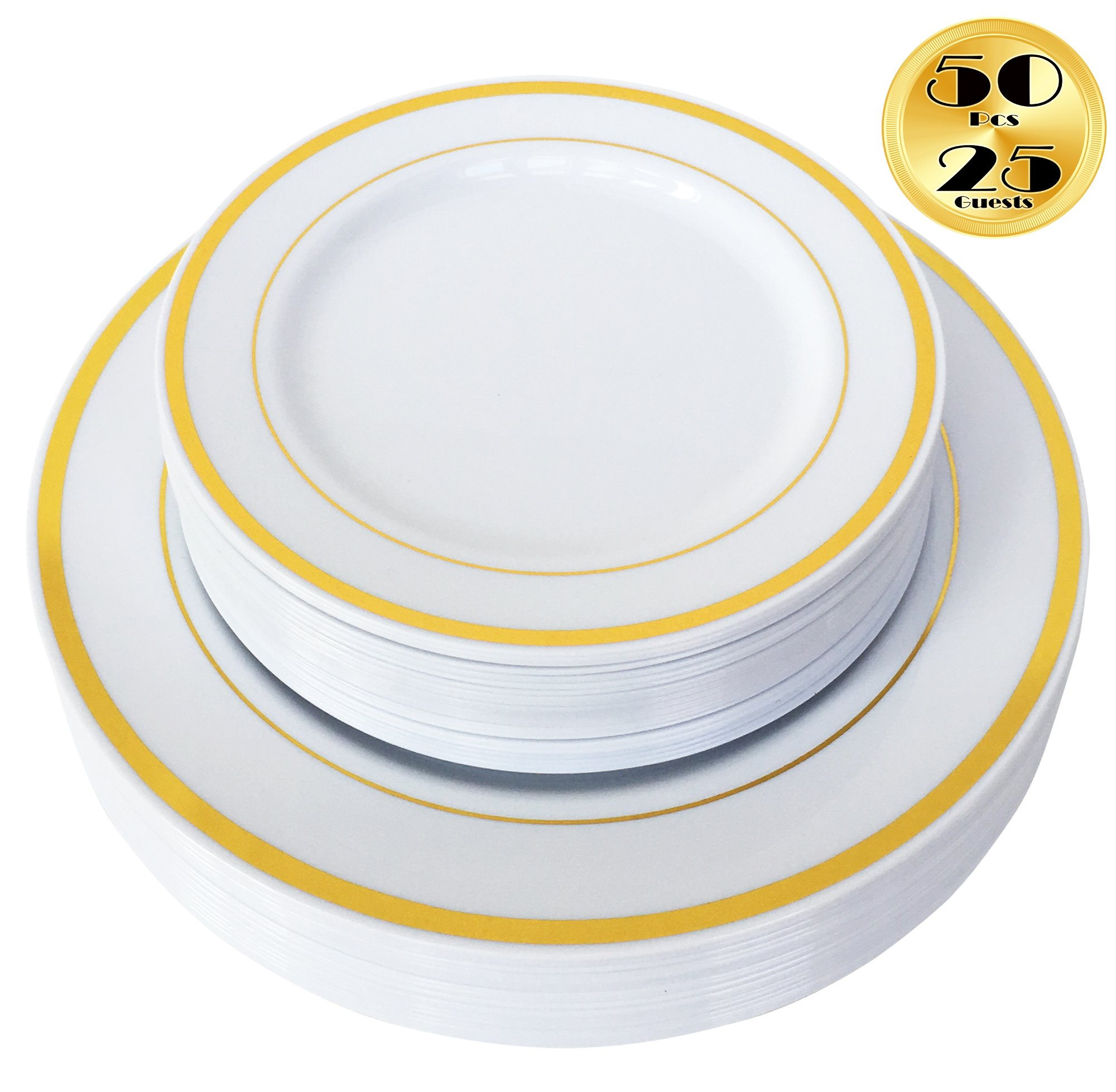 6 Pieces 7 inch Gold Edge Paper Plates Birthday Plates Party Tableware