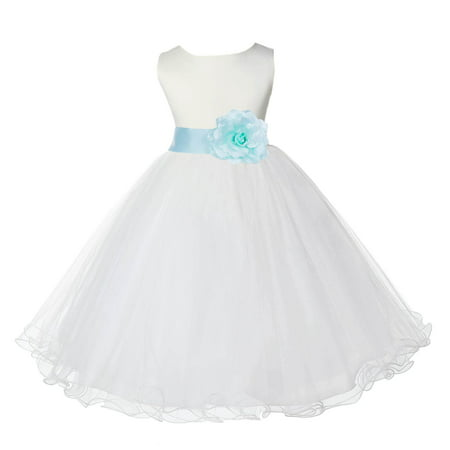ekidsbridal satin ivory mint tulle rattail christmas bridesmaid recital easter holiday wedding pageant communion princess birthday