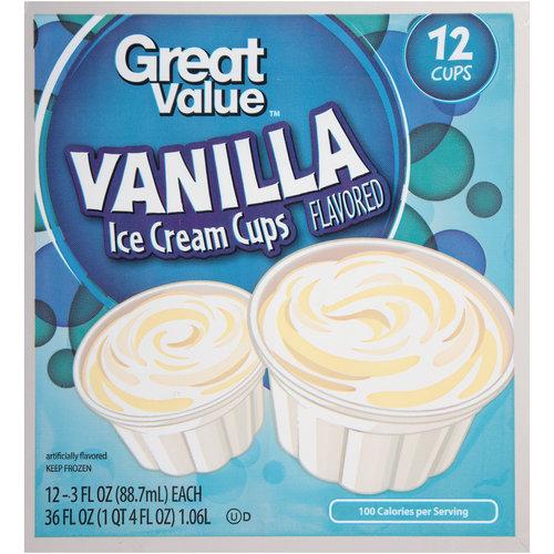 Great Value Vanilla Ice Cream Cups, 3 fl oz, 12 count
