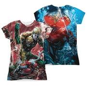 Jla - Aquaman Vs Manta (Front/Back Print) - Juniors Cap Sleeve Shirt - XX-Large
