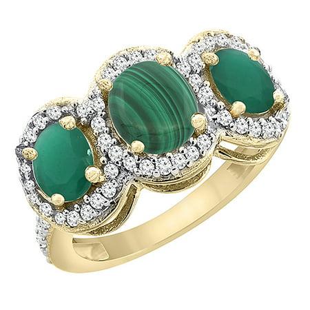 14K Yellow Gold Natural Malachite & Cabochon Emerald 3-Stone Ring Oval Diamond Accent, size 5