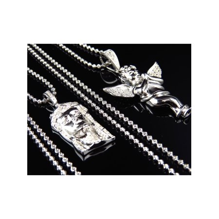 Genuine Diamond Jesus & Angel Pendant & Chain Combo in White Gold Finish