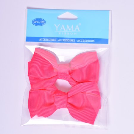 Yama Ribbon Hot Pink Grosgrain Bows, 2 Count - Large Ribbon Bows