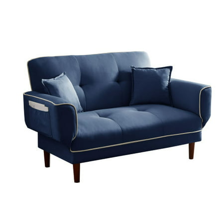 Modern Convertible Futon Sofa Bed, Linen Sleeper Sofa with 2 Pillows, Adjustable Backrest and Arms, Twin Size, Navy Blue