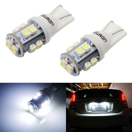 iJDMTOY (2) Pieces Xenon White 10-SMD 360-degree shine 168 194 2825 T10 LED Bulbs For Car License Plate -