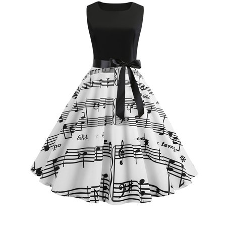 Womens 50s 60s Hepburn Style Skater Vintage Rockabilly Party Prom Swing Dress - 60s Attire