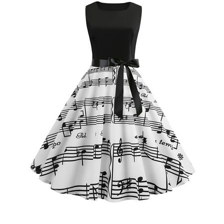 Womens 50s 60s Hepburn Style Skater Vintage Rockabilly Party Prom Swing Dress - 50s Party