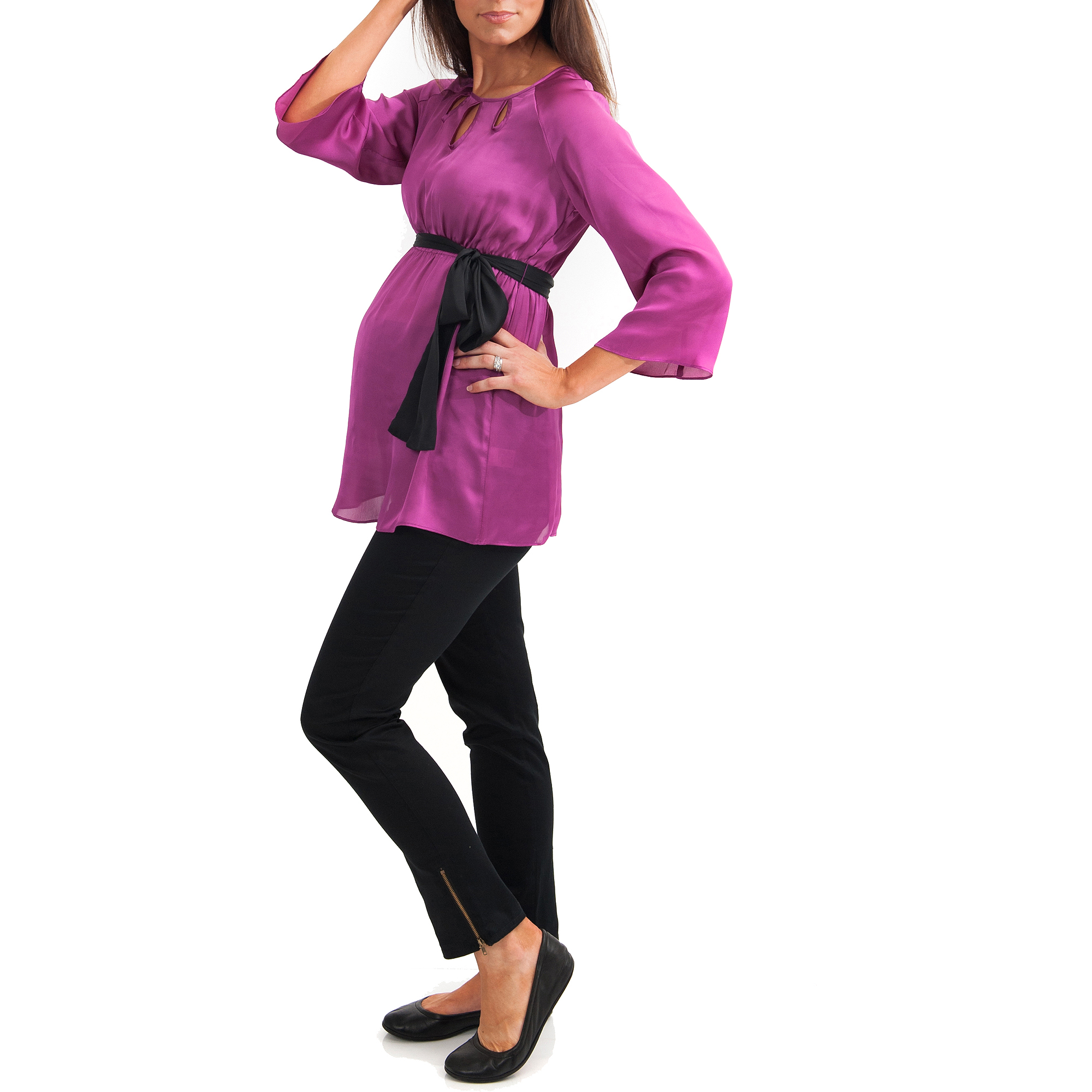 Maternity 3/4 Sleeve Raglan Tunic with Keyhole Cut Out ...