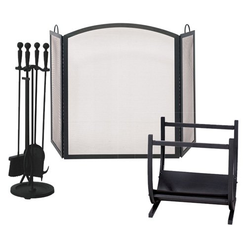 Uniflame Wrought Iron Black Fireplace Ensemble with Log Holder
