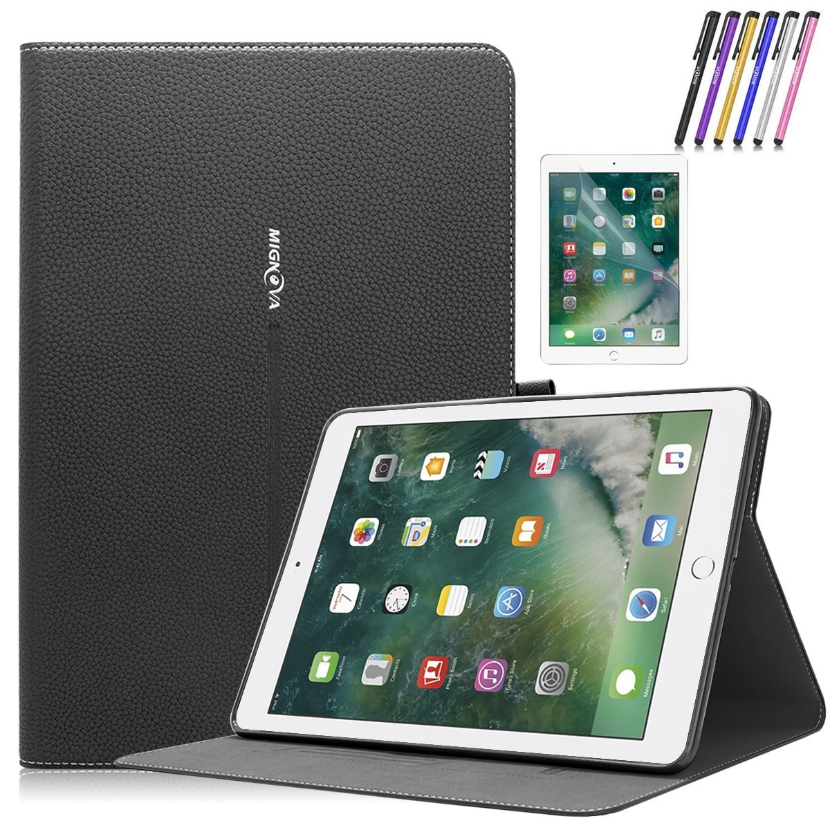 New iPad 9.7 inch Case, Mignova Premium PU Leather Folio Case Smart Cover with Auto Sleep / Wake for Apple iPad 5th 6th Generation 2017/2018 A1822/A1823 + Screen Protector Film and Stylus Pen (Black)