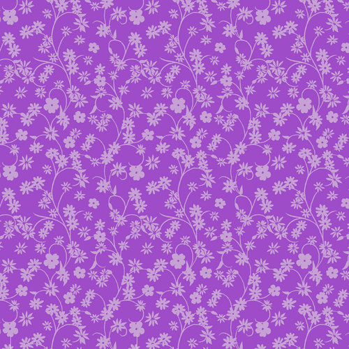 Cotton Ditsy Floral Fabric, Purple
