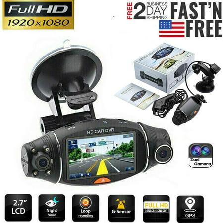 Dual Lens GPS Car DVR Camera HD Dash Cam Video Recorder G-sensor Night Vision