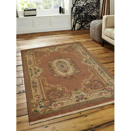 Rugsotic Carpets Hand Knotted Aras Woolen 4' x 6' Vintage Area Rug Rose AR0101-Color:Rose Cream,Material:Wool,Shape:Rectangle,Size:5' x 8' Bakhtiari Hand Knotted Rug