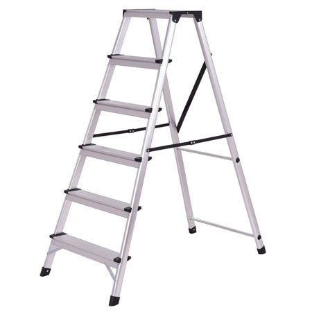Gymax Folding Aluminum Ladder 6 Step Non Slip Platform