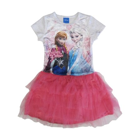 Disney Big Girls White Pink Frozen Anna Elsa Print Tutu Ruffle Dress 7-12](Frozen Dress Sale)