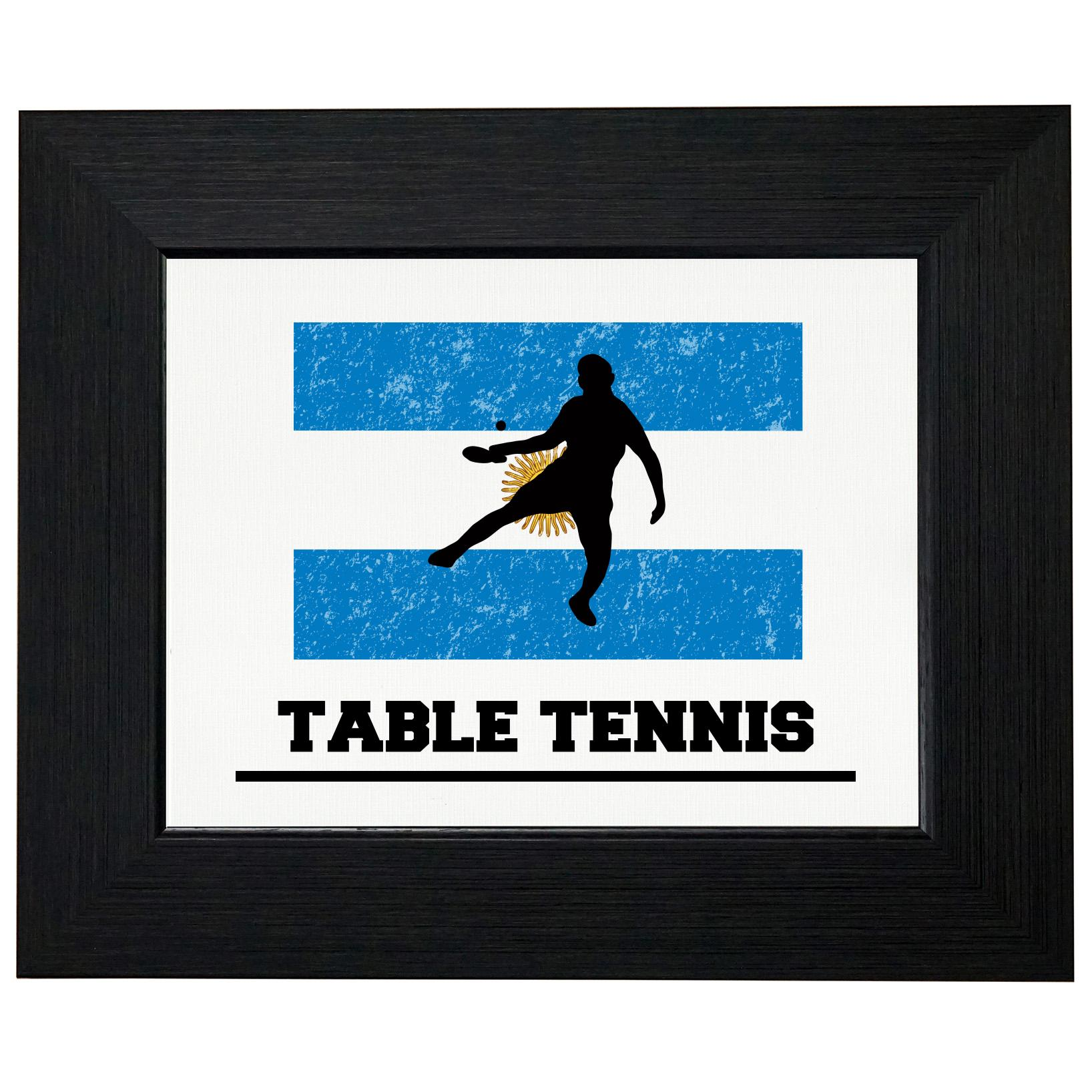 Argentina Olympic Ping Pong Flag Silhouette Framed Print Poster Wall or Desk Mount Options by Royal Prints