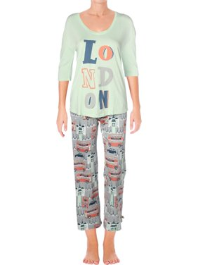 Munki Munki Womens London Printed Jogger Pajama Set