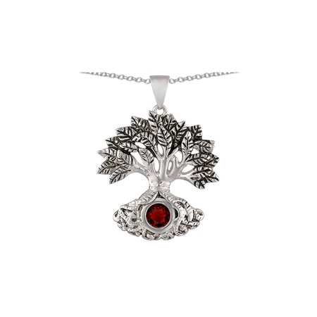 Star K Tree Of Life Good Luck Pendant Necklace with 7mm Round Simulated Garnet in Sterling Silver (Garnet Tree)