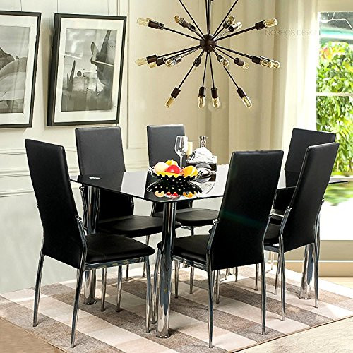 Incroyable Merax Merax 7 Piece Glass Top Dining Set