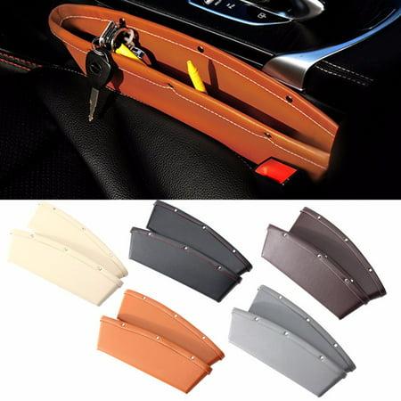 2x Catch Caddy Box PU Leather Car Seat Lip Slit Pocket Storage High Quality Edged Catcher Automotive Organizer Console Side Gap For Cell Phone, Credit Cards, Money, Keys