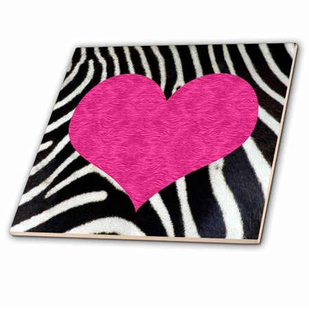 3dRose Punk Rockabilly Zebra Animal Stripe Pink Heart Print - Ceramic Tile, 4-inch - Rockabilly Room Decor