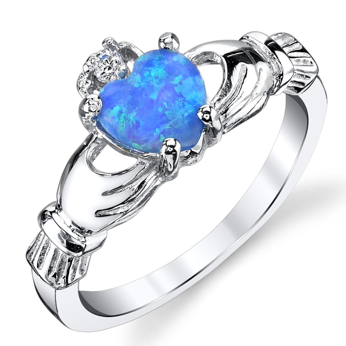 Sterling Silver 925 Irish Claddagh Friendship & Love Ring with Blue Simulated Opal Heart
