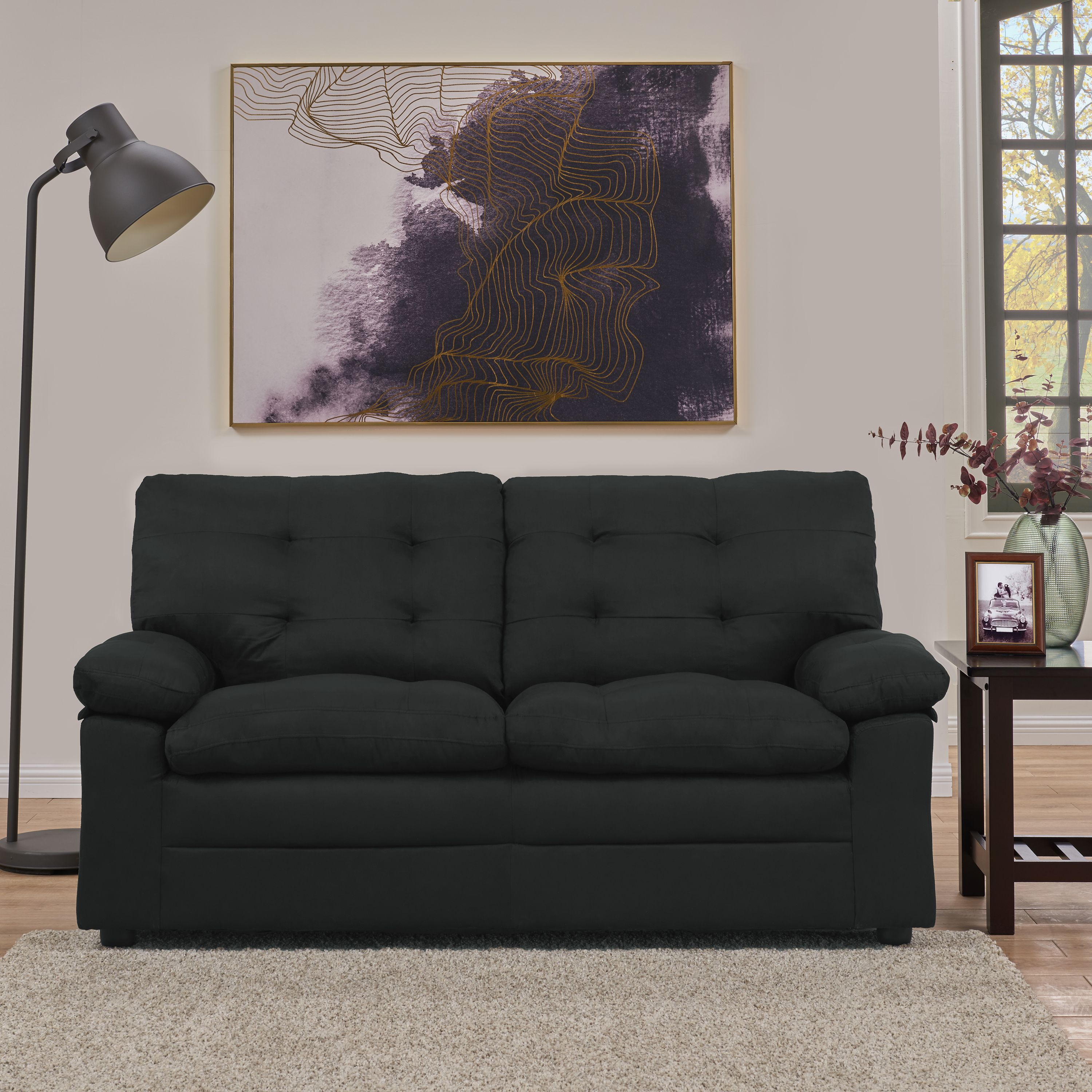Mainstays Buchannan Upholstered Apartment Sofa, Black Image 4 Of 4
