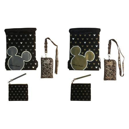 Disney Mickey Mouse Glow in the Dark Drawstring Backpack - Lanyard - Wristlet Bundle 6 Pack Set (Varied) for $<!---->