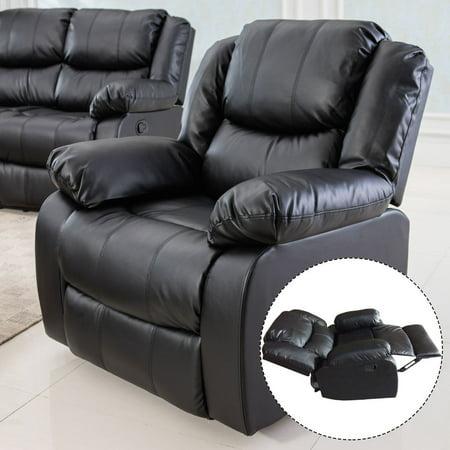 costway black motion sofa loveseat recliner living room bonded leather furnituresingle. Interior Design Ideas. Home Design Ideas