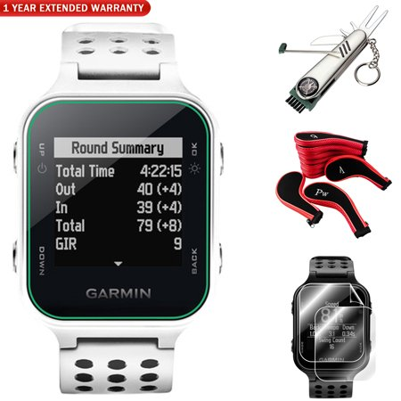 Garmin Approach S20 GPS Golf Watch, White + Screen Protector (2Pack) +  7-in-1 Multi-Function Golf Tool + Neoprene Zippered Headcover for Golf Club