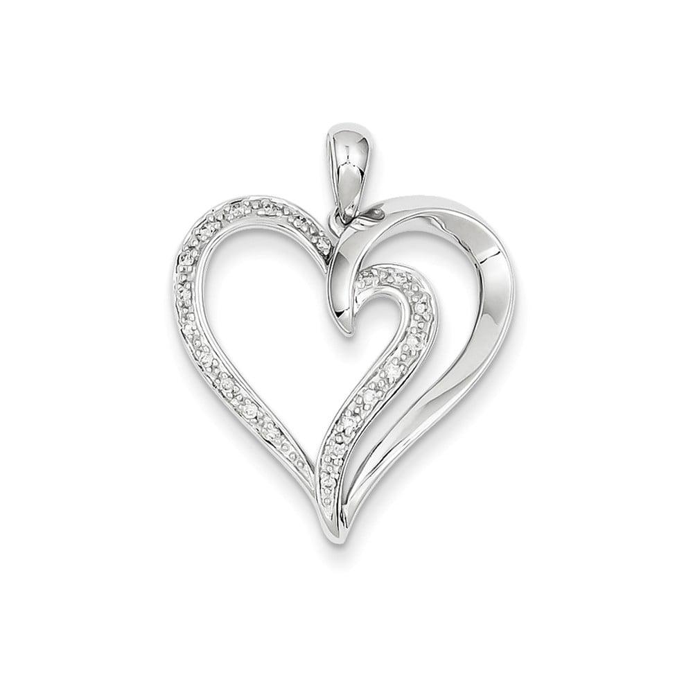 14K White Gold Diamond Heart Pendant. Carat Wt- 0.11ct