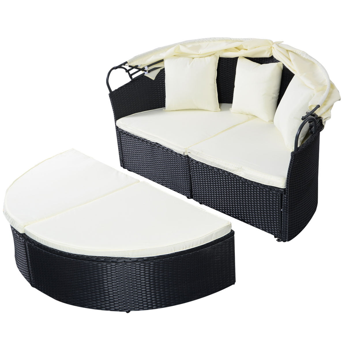 Costway Outdoor Patio Sofa Furniture Round Retractable Canopy Daybed Black Wicker Rattan - Walmart.com  sc 1 st  Walmart : patio bed with canopy - memphite.com