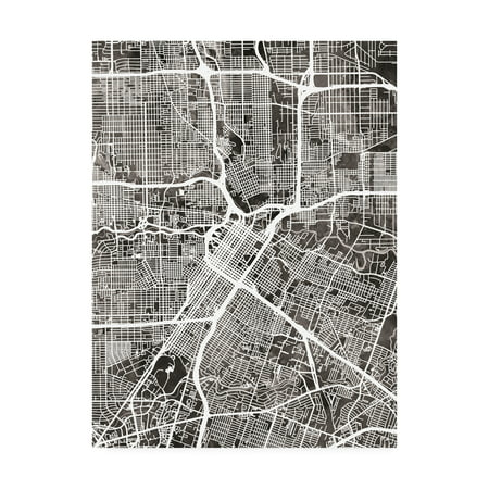 Trademark Fine Art 'Houston Texas City Street Map Black' Canvas Art by Michael Tompsett