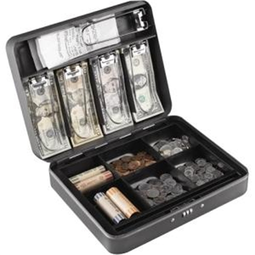 MMF POS Steelmaster Cash Box with Combination Lock, 12 in, Charcoal 2216190G2