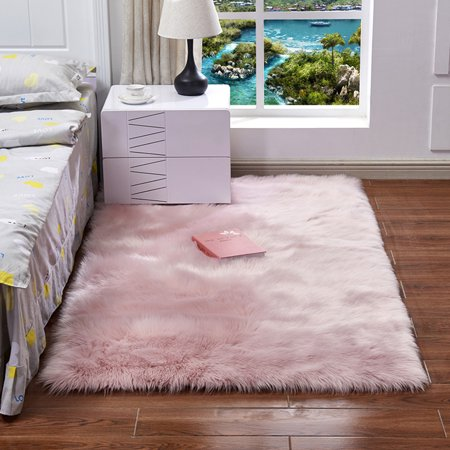 Ultra Soft Fluffy Rugs Rectangle Shape Faux Sheepskin Wool Carpet Rug for Living Room Bedroom Balcony Floor Mats, Many Colors and Shapes (Color Living Room)
