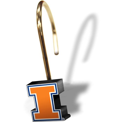 NCAA Illinois Fighting Illini Shower Curtain Rings, Set of 12