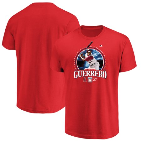 - Vladimir Guerrero Los Angeles Angels Majestic 2018 Hall of Fame Photo T-Shirt - Red