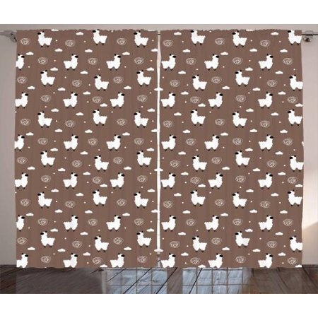 Set Cocoa Dots - Llama Curtains 2 Panels Set, Kids Nursery Design with Alpaca Furry Animal Clouds Polka Dot and Doodle, Window Drapes for Living Room Bedroom, 108W X 96L Inches, Cocoa White and Black, by Ambesonne