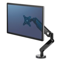"""Fellowes Platinum Series Single Monitor Arm, up to 30"""", up to 20 lbs, Clamp/Grommet, Black -FEL8043301"""