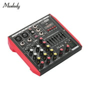 Muslady D4 Portable 4-Channel Mixing Console Mixer 7-band EQ Built-in 48V Phantom Power Supports BT Connection USB MP3 Player for Music Recording DJ Network Live Broadcast Karaoke