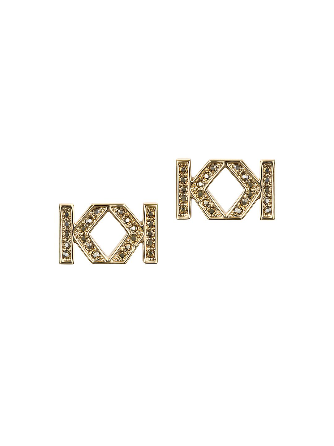 Double K Swarovski Crystal Stud Earrings