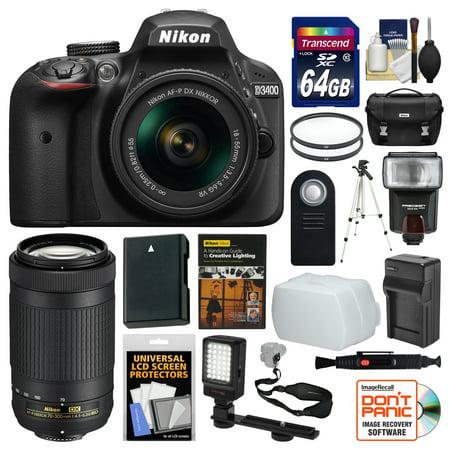 Vr Lens Digital Camo (Nikon D3400 Digital SLR Camera & 18-55mm VR & 70-300mm DX AF-P Lenses with 64GB Card + Case + Flash + Video Light + Battery & Charger + Tripod + Kit)