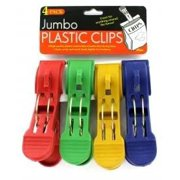 Jumbo High-Quality Plastic Snack Chip Food Bag Clips - 4 Pack - Great for Uses Around The House!