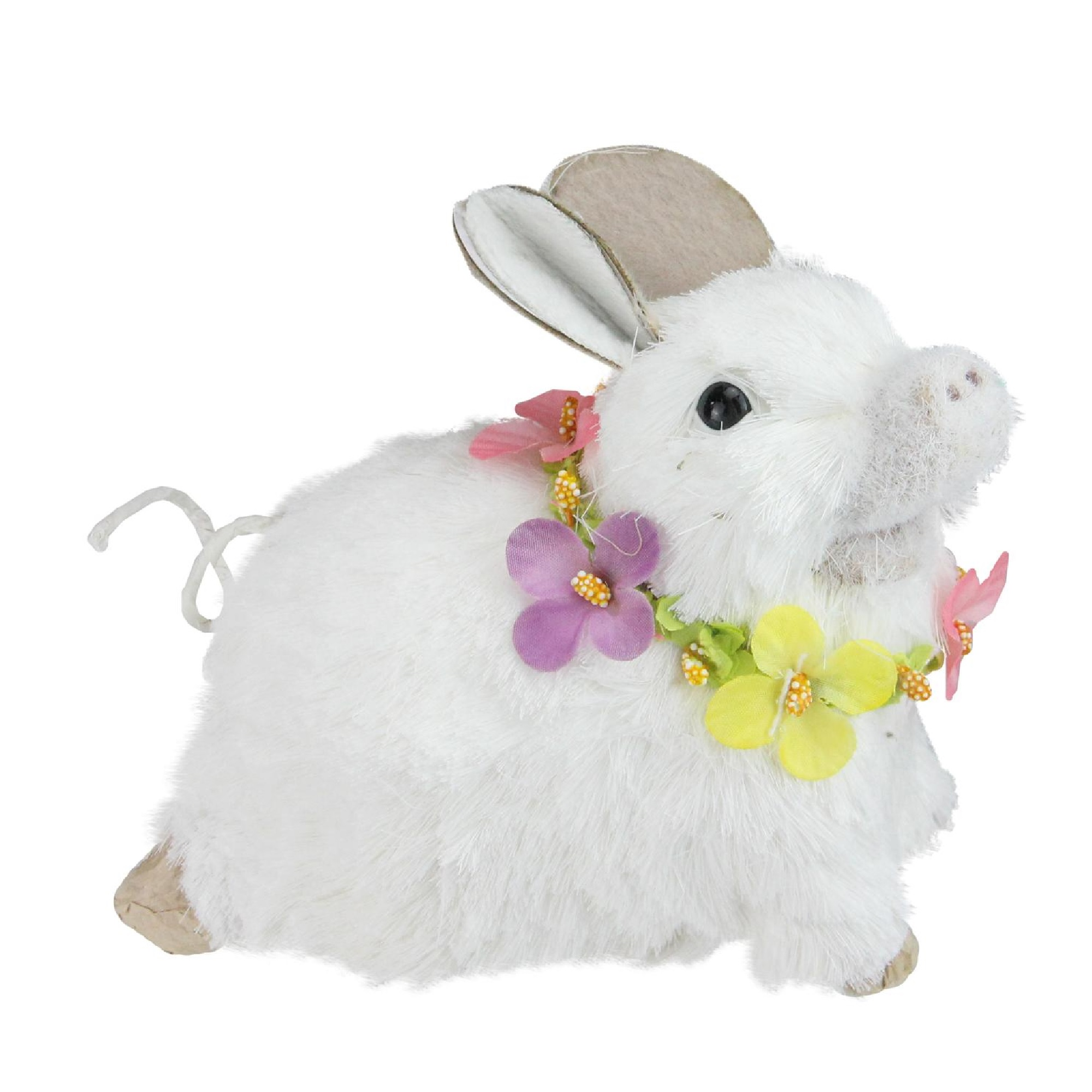 """Northlight 6.5"""" Sisal Piglet with Floral Lei Spring Figure - White"""