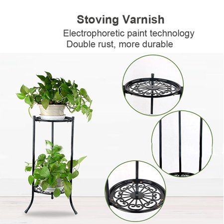 2 Tier Outdoor/ Indoor Metal Plant Stand Flower Planter Garden Display Holder Shelf Rack ()