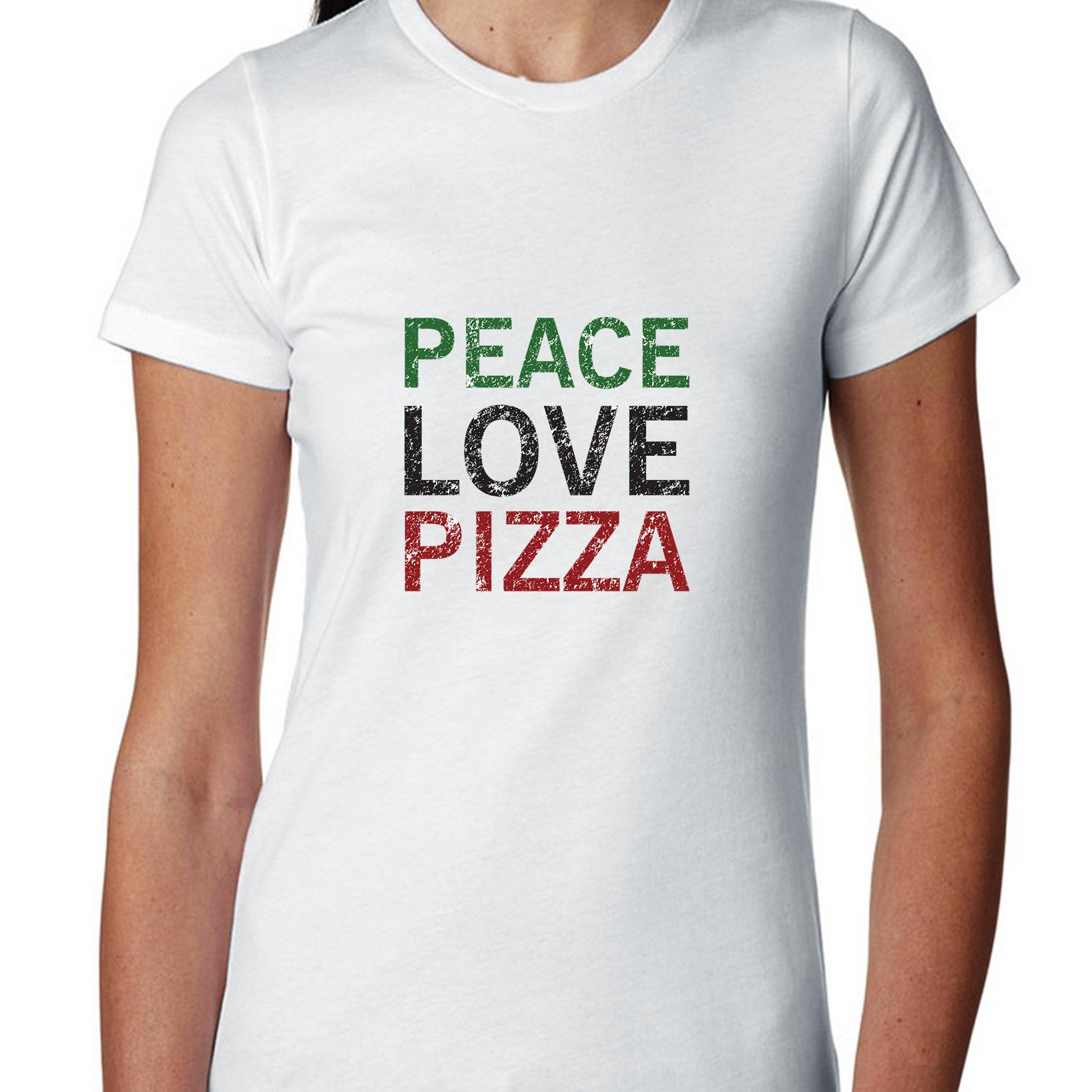 Simple Peace Love Pizza Colorful Graphic Women's Cotton T-Shirt